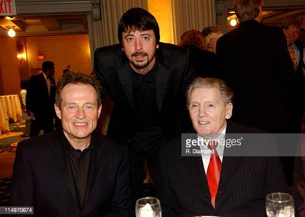 John Paul Jones Dave Grohl and Jerry Lee Lewis during GRAMMY Special Merit Awards Ceremony February 12 2005 at Millenium Biltmore Hotel in Los...