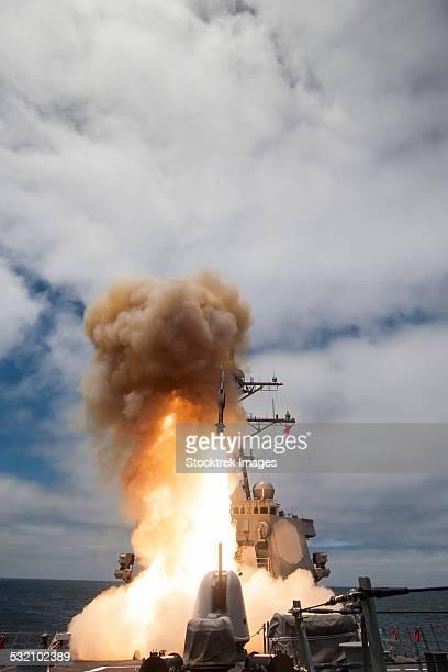 USS John Paul Jones launches a Standard Missile.