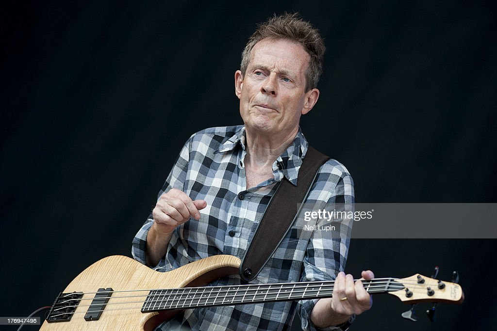 John Paul Jones of Led Zeppelin performs on stage with Seasick Steve on day 2 of the V Festival at Hylands Park on August 18, 2013 in Chelmsford, England.