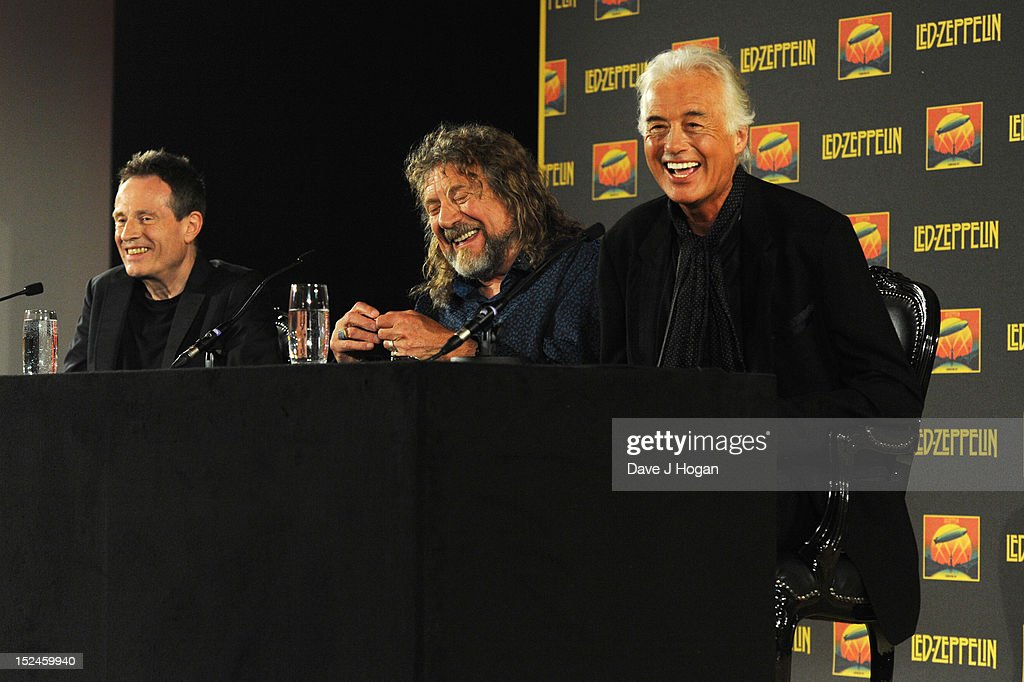 John Paul Jones, Robert Plant and Jimmy Page of Led Zeppelin attend a press conference to announce Led Zeppelin's new live DVD Celebration day at 8 Northumberland Avenue on September 21, 2012 in London, England.