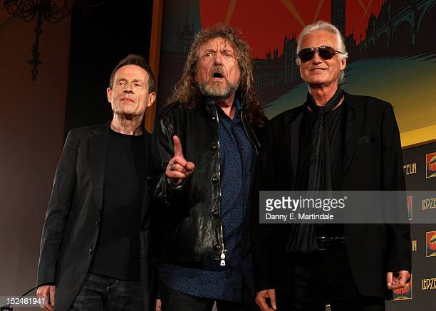 John Paul Jones Robert Plant and Jimmy Page of Led Zeppelin attend a press conference to announce Led Zeppelin's new live DVD Celebration day at 8...