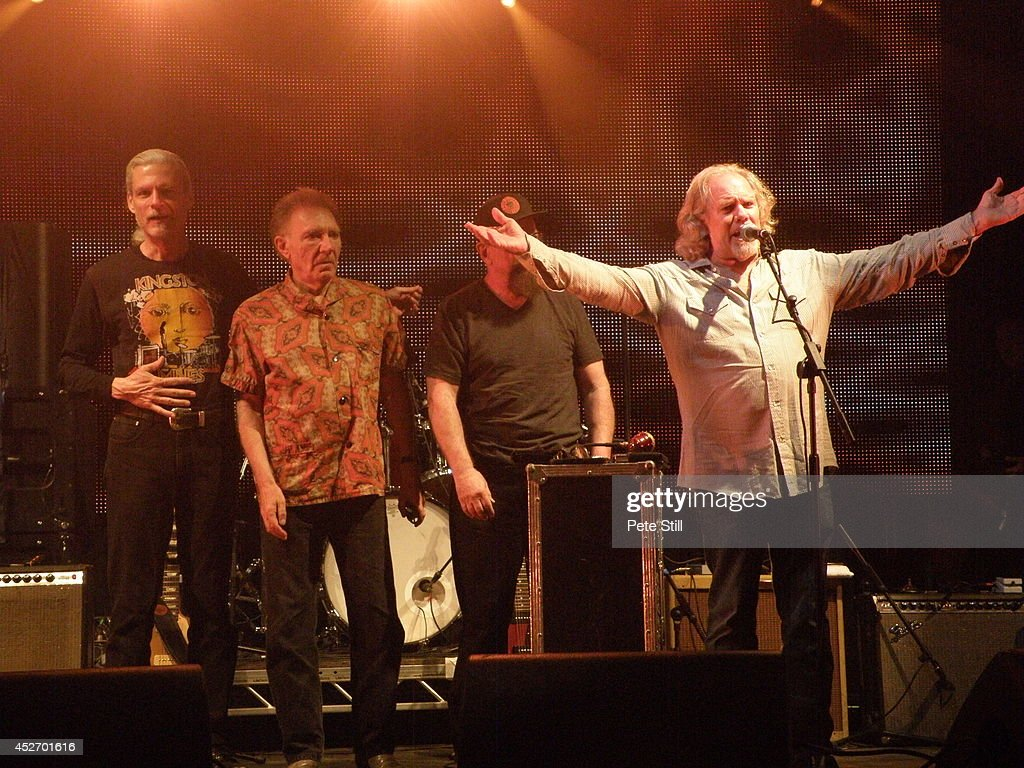 John Paulus, Adolfo de la Parra, Larry Taylor and Dale Spalding of Canned Heat thank the crowd at the end of their concert at the Silverstone Classic at Silverstone on July 25, 2014 in Northampton, United Kingdom.
