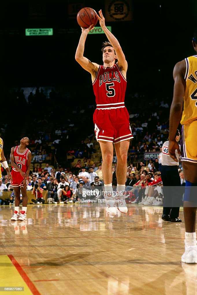 54a56b52f ... Authentic Road Jersey 8 Red Adidas Chicago Bulls NBA John Paxson 5 of  the Chicago Bulls shoots the ball in Game Three of the ...