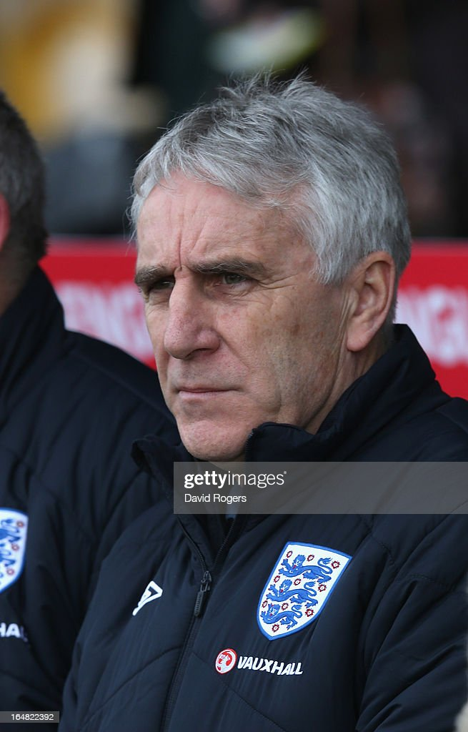 John Peacock, the England head coach looks on during the UEFA European Under 17 Championship match between England and Slovenia at Pirelli Stadium on March 28, 2013 in Burton-upon-Trent, England.