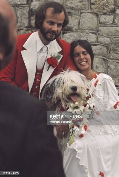John Peel and wife Sheila Gilhooly with their Old English Sheepdog 'Woggle' serving as a bridesmaid at their wedding Regents Park London 31st August...