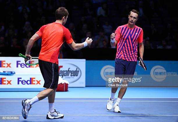 John Peers of Australia and Henri Kontinen of Finland celebrate a point during the Doubles Final against Raven Klaasen of South Africa and Rajeev Ram...