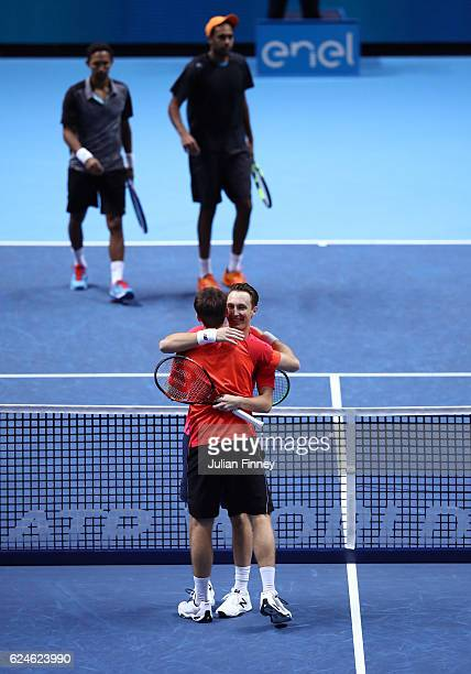 John Peers of Australia and Henri Kontinen of Finland celebrate their victory during the Doubles Final against Raven Klaasen of South Africa and...
