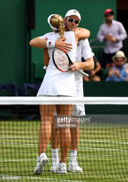 John Peers of Australia and partner Sabine Lisicki of Germany celebrate during the Mixed Doubles first round match against Scott Lipsky of the United...