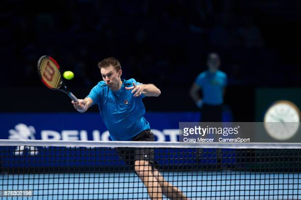 John Peers of Australia in action with partner Henri Kontinen of Finland against Lukasz Kubot of Poland and Marcelo Melo of Brazil in the doubles...