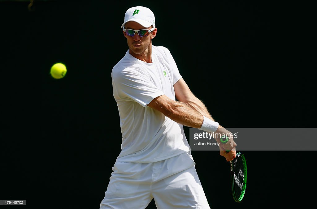 John Peers of Australia playing with partner Jamie Murray of Great Britain in the Gentlemens Doubles Second Round match against Nicholas Monroe of...