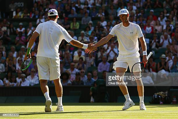 John Peers of Australia playing with partner Jamie Murray of Great Britain celebrate winning a point in the Gentlemens Doubles Semi Final match...