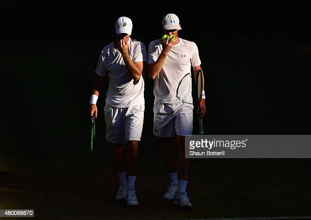 John Peers of Australia playing with partner Jamie Murray of Great Britain in the Gentlemens Doubles Semi Final match against Jonathan Erlich of...