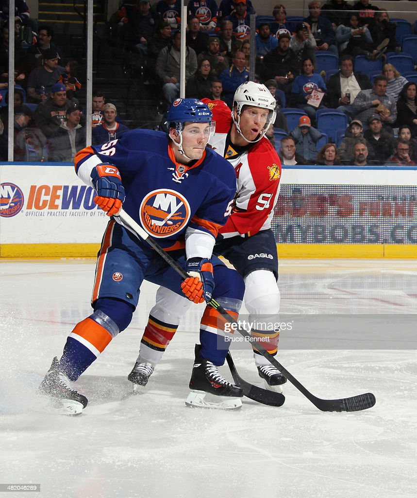 John Persson #56 of the New York Islanders skates against the Florida Panthers at the Nassau Veterans Memorial Coliseum on April 1, 2014 in Uniondale, New York. The Islanders defeated the Panthers 4-2.