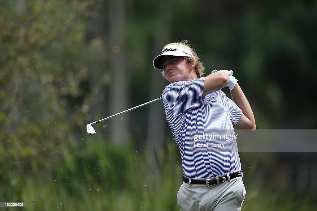 <a gi-track='captionPersonalityLinkClicked' href=/galleries/search?phrase=John+Peterson&family=editorial&specificpeople=227262 ng-click='$event.stopPropagation()'>John Peterson</a> hits his drive on the eighth hole during the third round of the Web.com Tour Championship held on the Dye's Valley Course at TPC Sawgrass on September 28, 2013 in Ponte Vedra Beach, Florida.