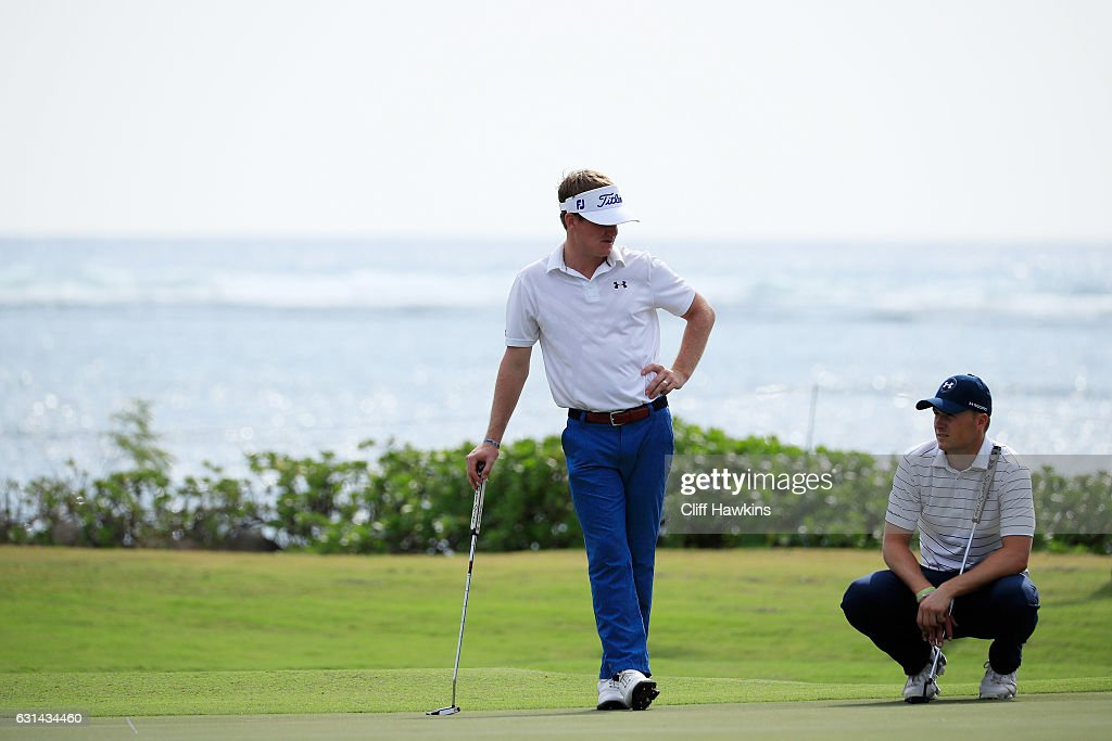 John Peterson of the United States and Jordan Spieth of the United States look on during practice rounds prior to the Sony Open In Hawaii at Waialae Country Club on January 10, 2017 in Honolulu, Hawaii.