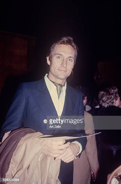 John Phillip Law in a double breasted blue blazer circa 1970 New York