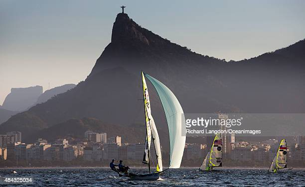 John Pink and Stuart Bithell from the British Sailing Team sail their 49er during the International Sailing Regatta Aquece Rio Test Event for Rio...
