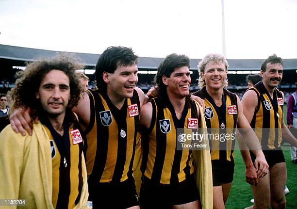 John Platten Jason Dunstall Gary Ayres Dermott Brereton and John Kennedy of Hawthorn celebrate their win in the VFL Grand Final match between...