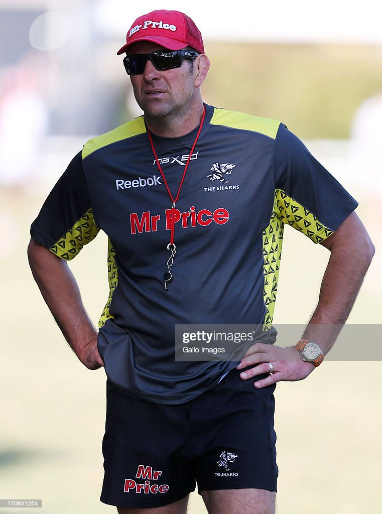 John Plumtree Head Coach of the Sharks during a Sharks training session at Growthpoint Kings Park on June 19, 2013 in Durban, South Africa.