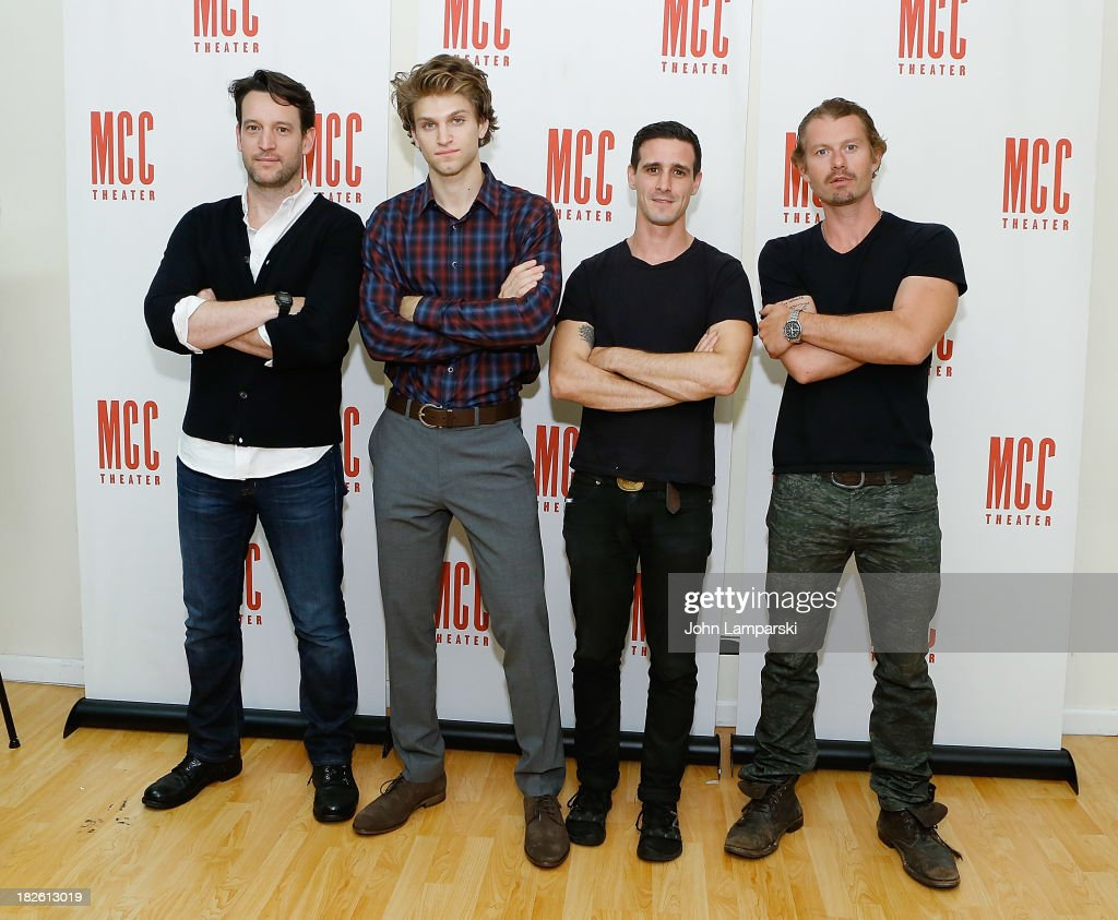John Pollono Keegan Allen James Ransone and James Badge Dale attend the offbroadway press meet greet for 'Small Engine Repair' at Lucille Lortel...