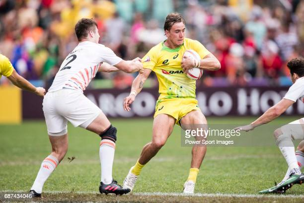 John Porch of Australia in action during the Pool A match between England vs Australia as part of the HSBC Hong Kong Rugby Sevens 2017 on 08 April...