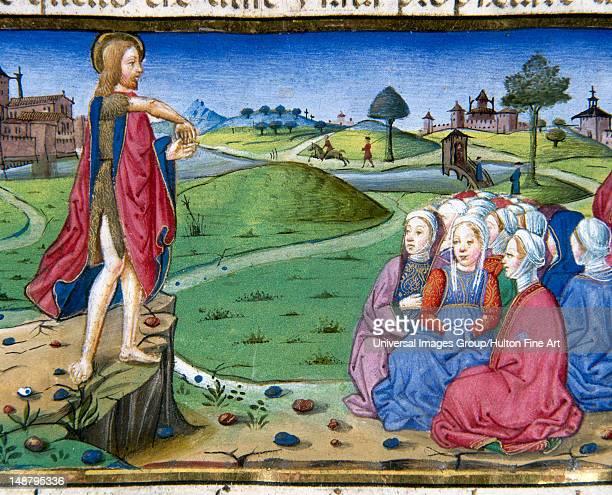 John preaches and baptizes Codex of Predis Royal Library Turin Italy