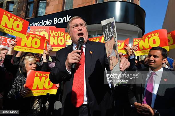 John Prescott MP campaigns for a ''No'' vote in the referendum on Rutherglen main street on September 10 2014 in Glasgow Scotland The three UK party...