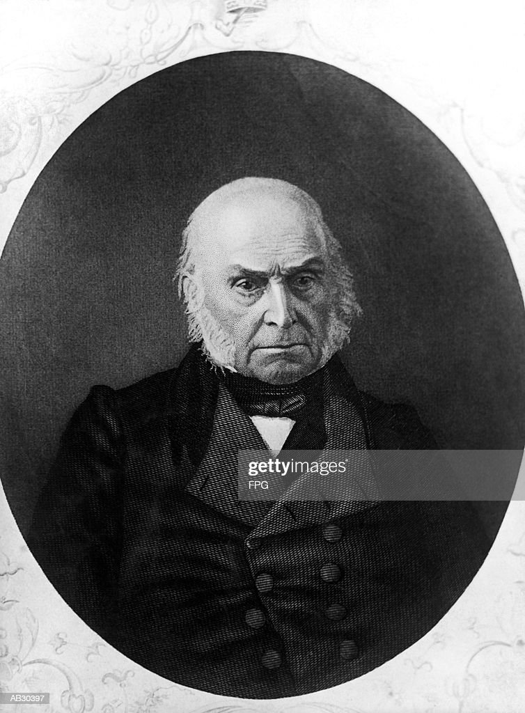 John Quincy Adams (1767-1848), sixth US President (B&W) : Stock Photo