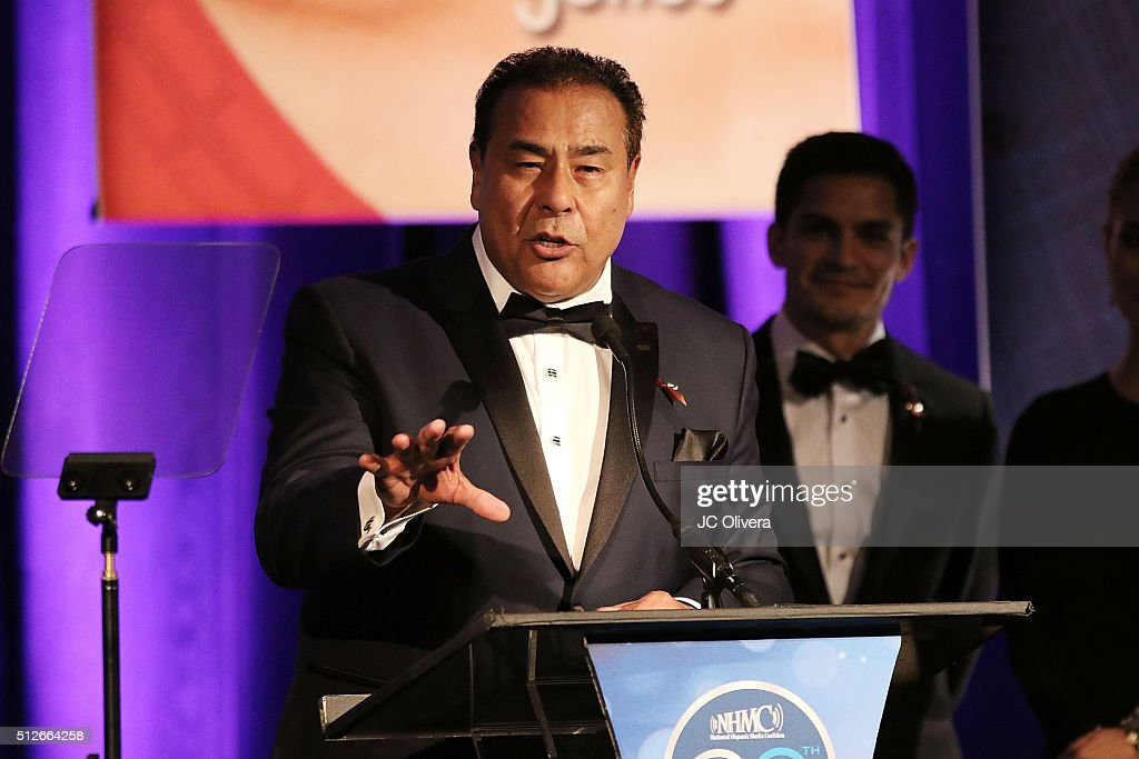 John Quinones onstage during the 19th Annual National Hispanic Media Coalition Impact Awards Gala at Regent Beverly Wilshire Hotel on February 26...
