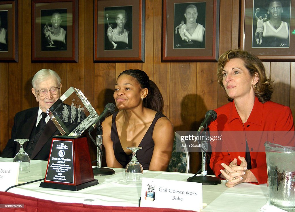 John R. Wooden, Alana Beard and Head Coach, Gail Goestekors of Duke University