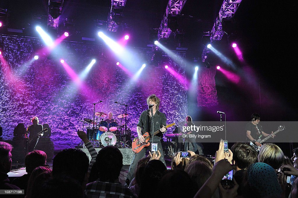 John Rezeznik Robby Takac and Mike Malin of the Goo Goo Dolls perform in concert at the Greek Theatre on August 29 2010 in Los Angeles California
