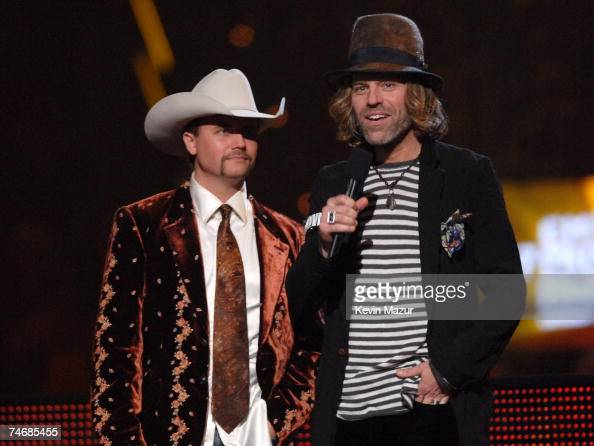 John Rich and Big Kenny of Big Rich introduce a performance by Hank Williams Jr at the The Curb Event Center at Belmont University in Nashville...