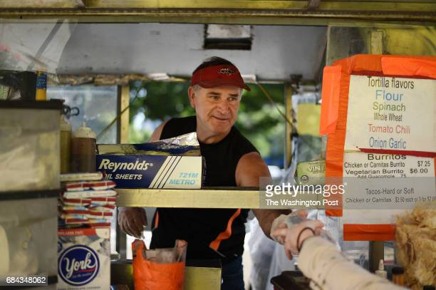 John Rider sells his burritos in Washington DC May 10 at the corner of K and 15th streets For more than two decades John Rider has been selling...