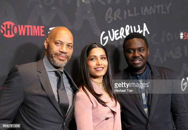 John Ridley Freida Pinto and Babou Ceesay arrive at Showtime's 'Guerrilla' FYC event held at The WGA Theater on April 13 2017 in Beverly Hills...