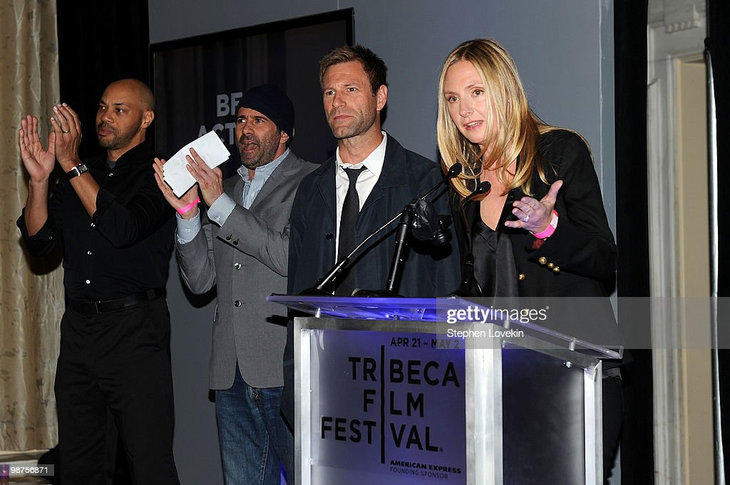 John Ridley, John Hamburg, <a gi-track='captionPersonalityLinkClicked' href=/galleries/search?phrase=Aaron+Eckhart&family=editorial&specificpeople=220602 ng-click='$event.stopPropagation()'>Aaron Eckhart</a> and Hope David attend the Awards Night Show & Party during the 2010 Tribeca Film Festival at the W New York - Union Square on April 29, 2010 in New York City.