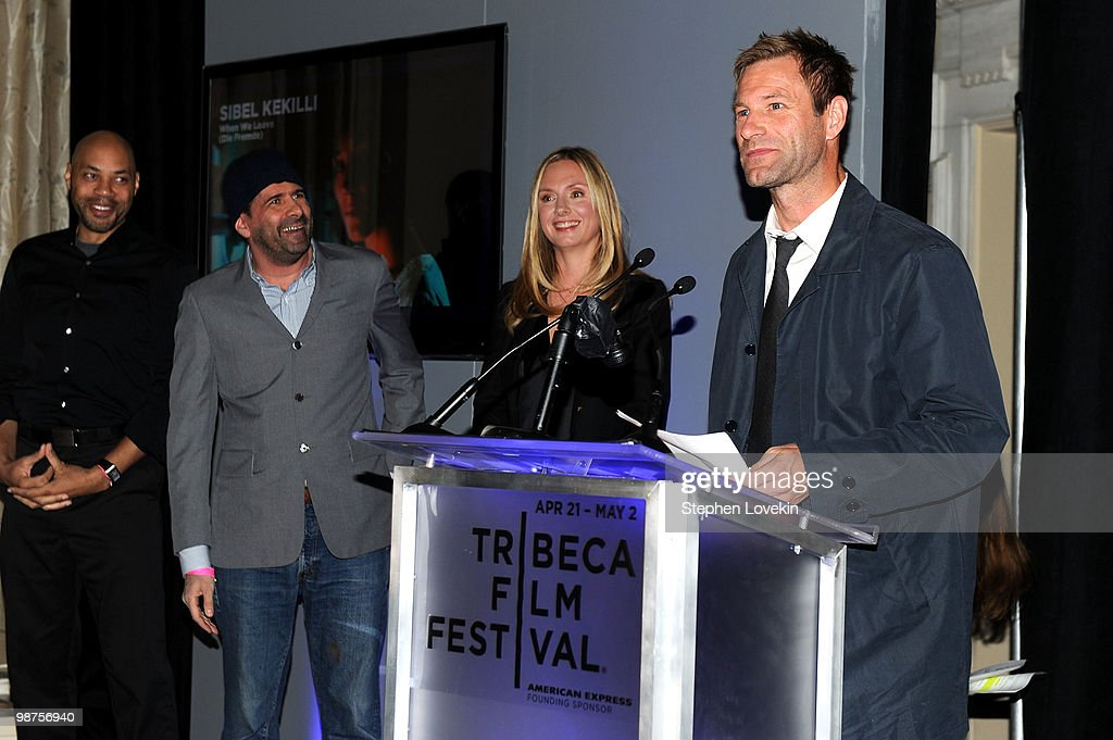 John Ridley, John Hamburg, Hope David and <a gi-track='captionPersonalityLinkClicked' href=/galleries/search?phrase=Aaron+Eckhart&family=editorial&specificpeople=220602 ng-click='$event.stopPropagation()'>Aaron Eckhart</a> attend the Awards Night Show & Party during the 2010 Tribeca Film Festival at the W New York - Union Square on April 29, 2010 in New York City.