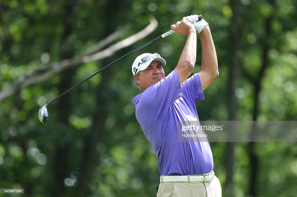 <a gi-track='captionPersonalityLinkClicked' href=/galleries/search?phrase=John+Riegger&family=editorial&specificpeople=1493527 ng-click='$event.stopPropagation()'>John Riegger</a> hits his tee shot on the 15th hole during the first round of the Champions Tour American Family Insurance Championship at University Ridge Golf Course on June 24, 2016 in Madison, Wisconsin.