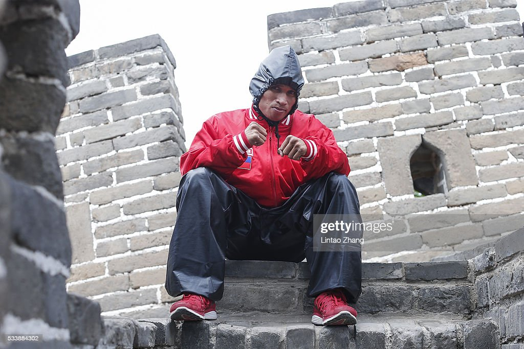 John riel Casimero of Philippines poses on the Great Wall during the Weigh-in of IBF World Boxing Championship Bout at Mutianyu on May 24, 2016 in Beijing, China.