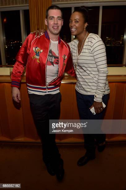 John Roberts and Aisha Tyler attend the Vulture Festival Opening Night Party Presented By ATT at the Top of The Standard Hotel on May 19 2017 in New...