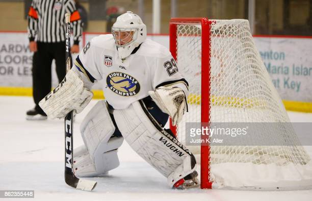 John Roberts of the Sioux Falls Stampede tends net during the game against the Cedar Rapids RoughRiders on Day 2 of the USHL Fall Classic at UPMC...