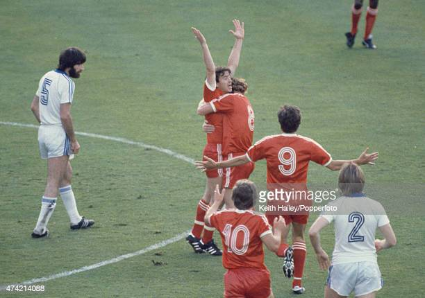 John Robertson celebrates with Ian Bowyer after scoring the winning goal for Nottingham Forest during the European Cup Final against SV Hamburg at...