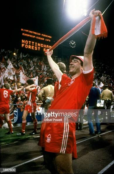 John Robertson of Nottingham Forest celebrates victory during the European Cup Final match against Malmo The match ended in a 10 win for Nottingham...