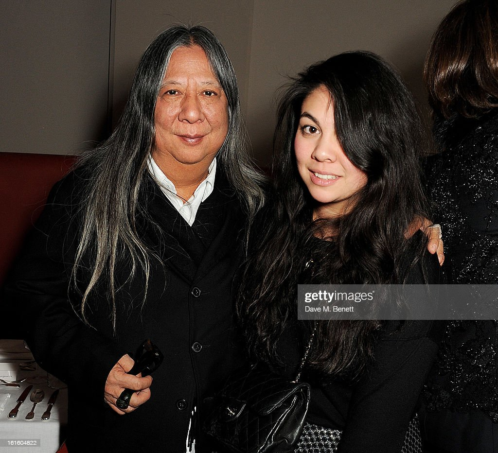 John Rocha (L) and Simone Rocha attend a private dinner hosted by Lucy Yeomans celebrating Jason Brooks at Cafe Royal on February 12, 2013 in London, England.