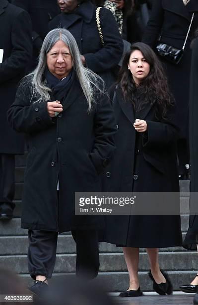 John Rocha and Simone Rocha depart a memorial service for Professor Louise Wilson during London Fashion Week Fall/Winter 2015/16 at St Paul's...
