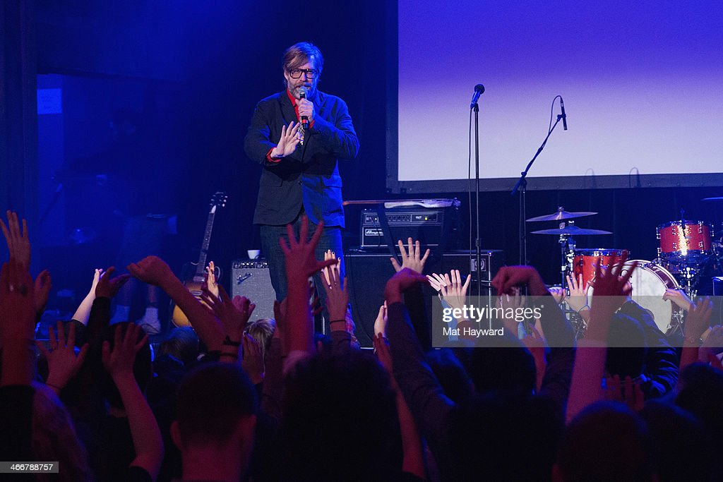 John Roderick speaks on stage during the Sasquatch Launch Party at Neptune Theatre on February 3, 2014 in Seattle, Washington.