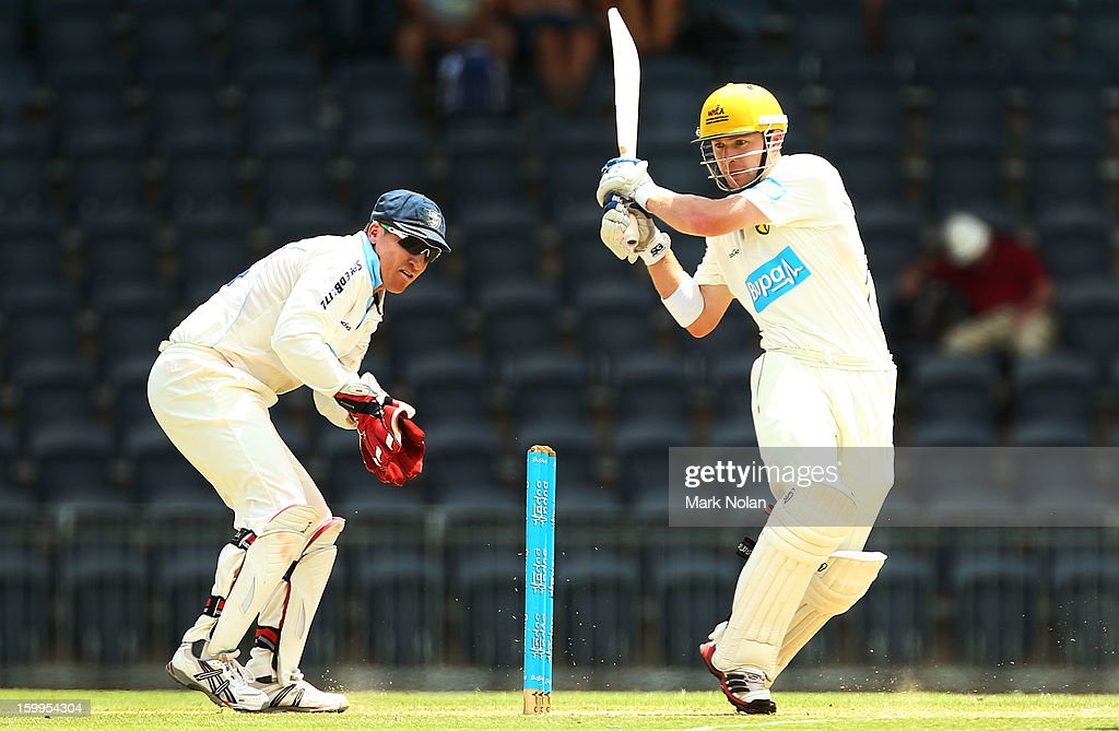 John Rogers of the Warriors bats during day one of the Sheffield Shield match between the New South Wales Blues and the Western Australia Warriors at Blacktown International Sportspark on January 24, 2013 in Sydney, Australia.