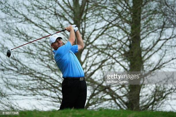 John Rollins hits his drive on the 14th hole during the second round of the Chitimacha Louisiana Open presented by NACHER held at Le Triomphe Golf...