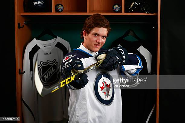 John Roslovic poses for a portrait after being selected 25th overall by the Winnipeg Jets during Round One of the 2015 NHL Draft at BBT Center on...
