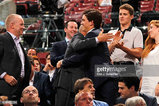 John Roslovic reacts after being selected 25th overall by the Winnipeg Jets during Round One of the 2015 NHL Draft at BBT Center on June 26 2015 in...