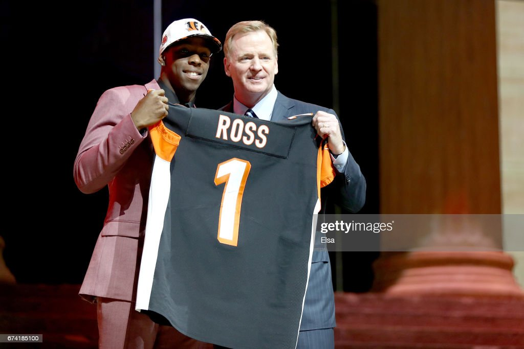 John Ross of Washington poses with Commissioner of the National Football League Roger Goodell after being picked #9 overall by the Cincinnati Bengals during the first round of the 2017 NFL Draft at the Philadelphia Museum of Art on April 27, 2017 in Philadelphia, Pennsylvania.